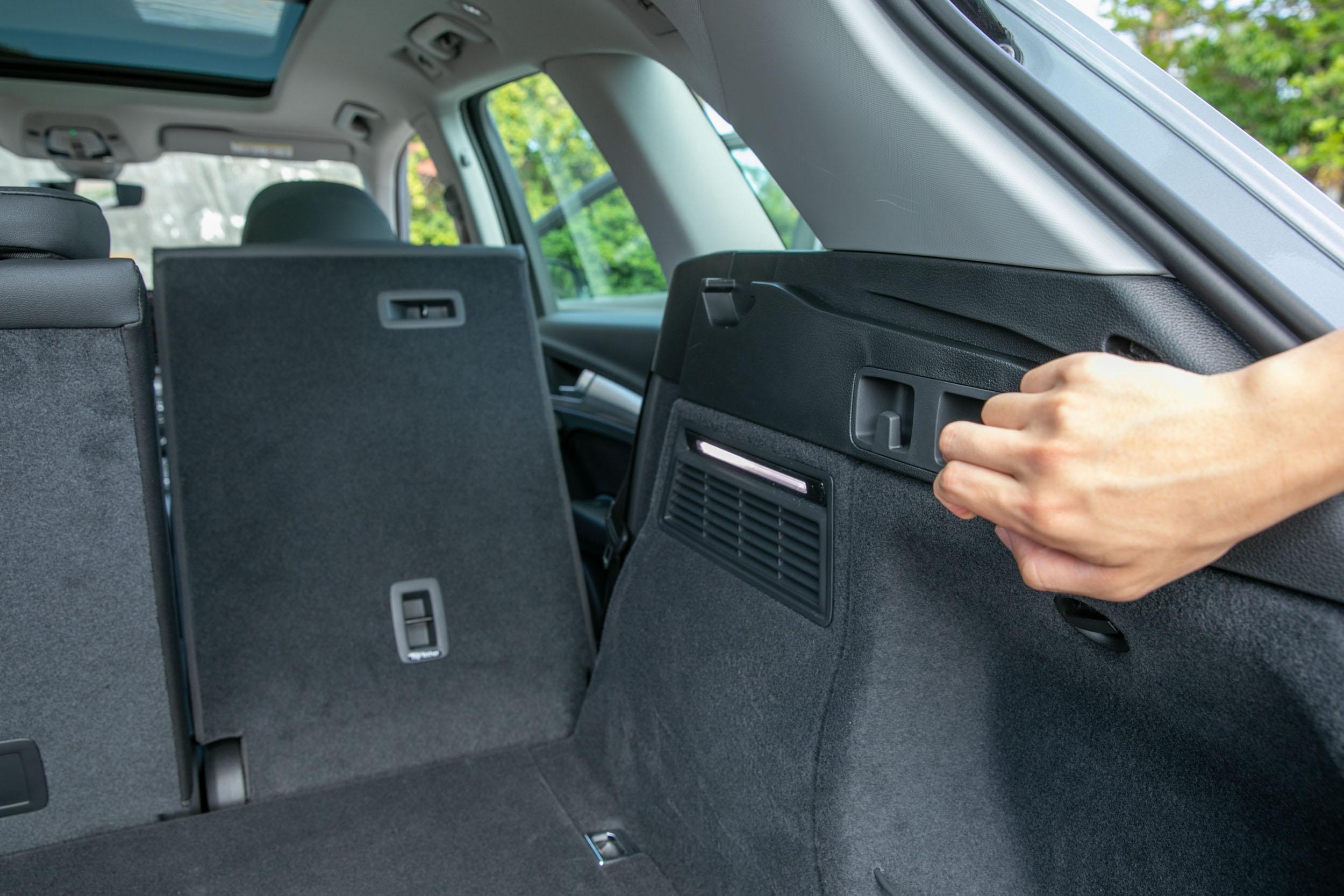 後廂兩側有後座椅背快速傾倒拉桿。