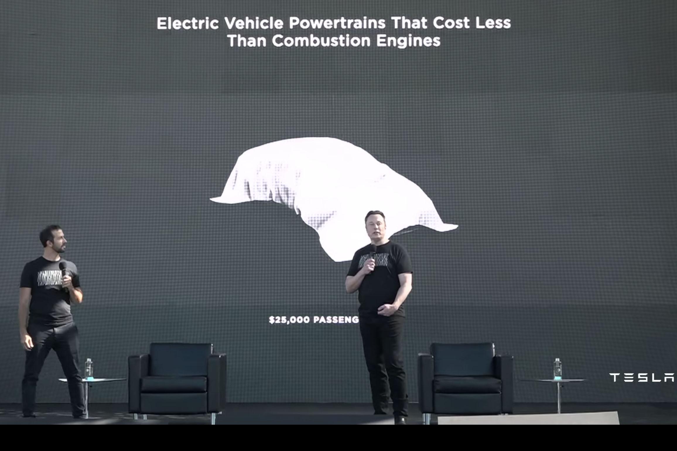 Elon Musk 預告最快 2023 年可推出售價 25,000 美元的車款。左為動力系統及能源工程副總裁 Drew Baglino。