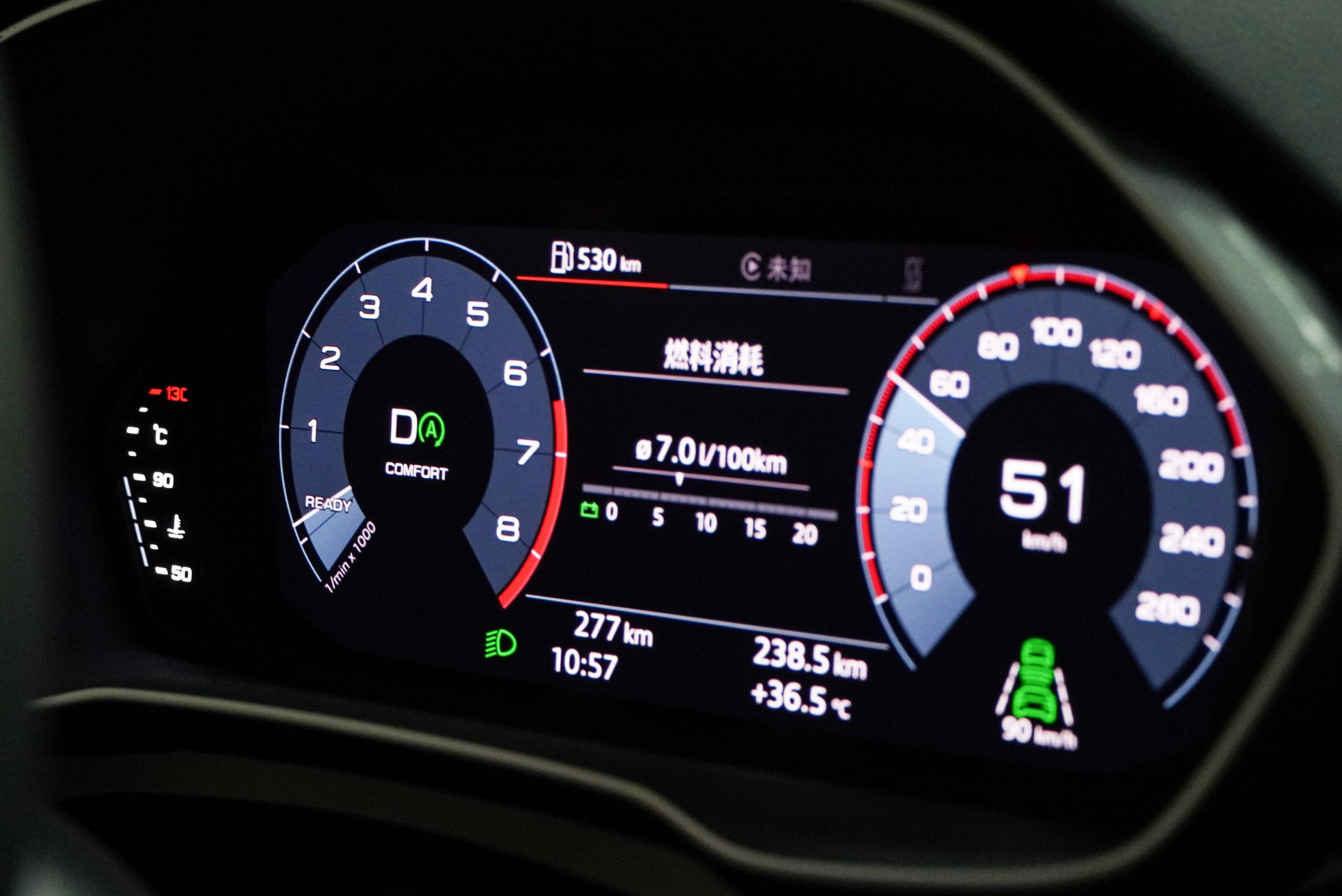 巡航中引擎關閉時,轉速表指針會停留在「Ready」位置。