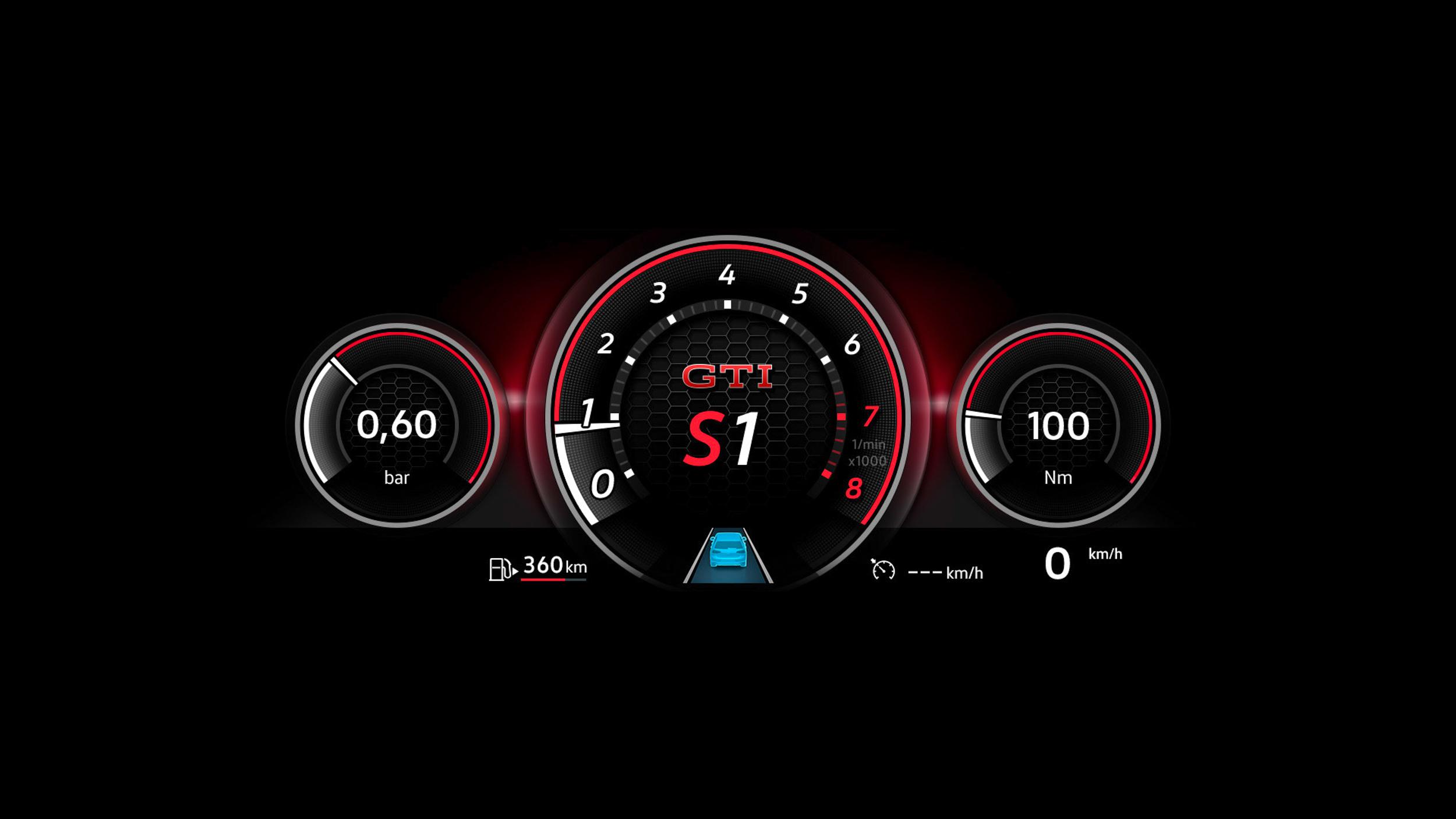 Golf 8 GTI配備的 Digital Cockpit Pro 10.25吋全邏輯數位化儀表有著專屬介面設計。
