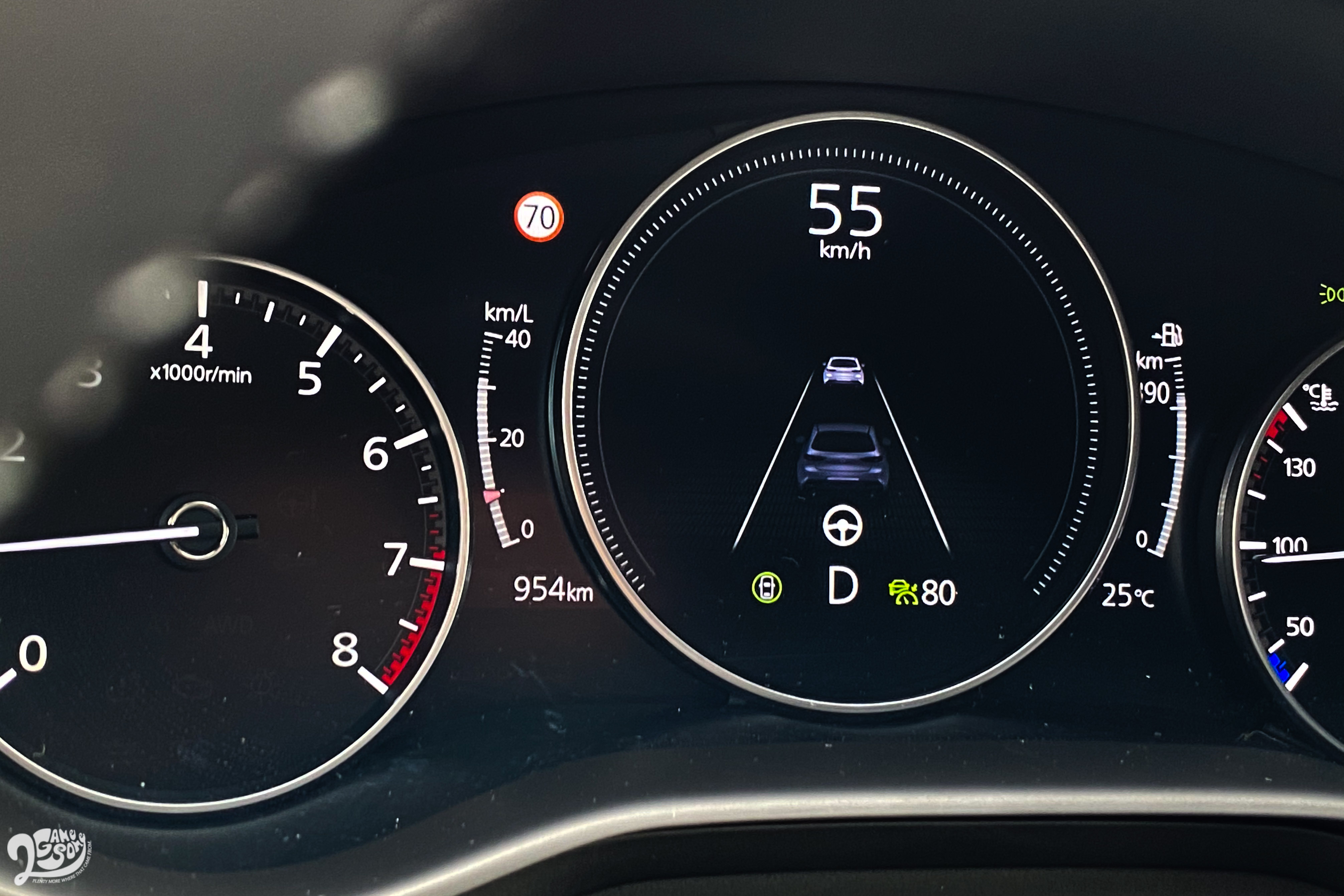 CTS 巡航模式車道維持僅限於 55 公里以下作動。
