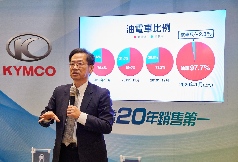 光陽集團執行長柯俊斌協同其他機車業者帶頭呼籲油電補助須同調。