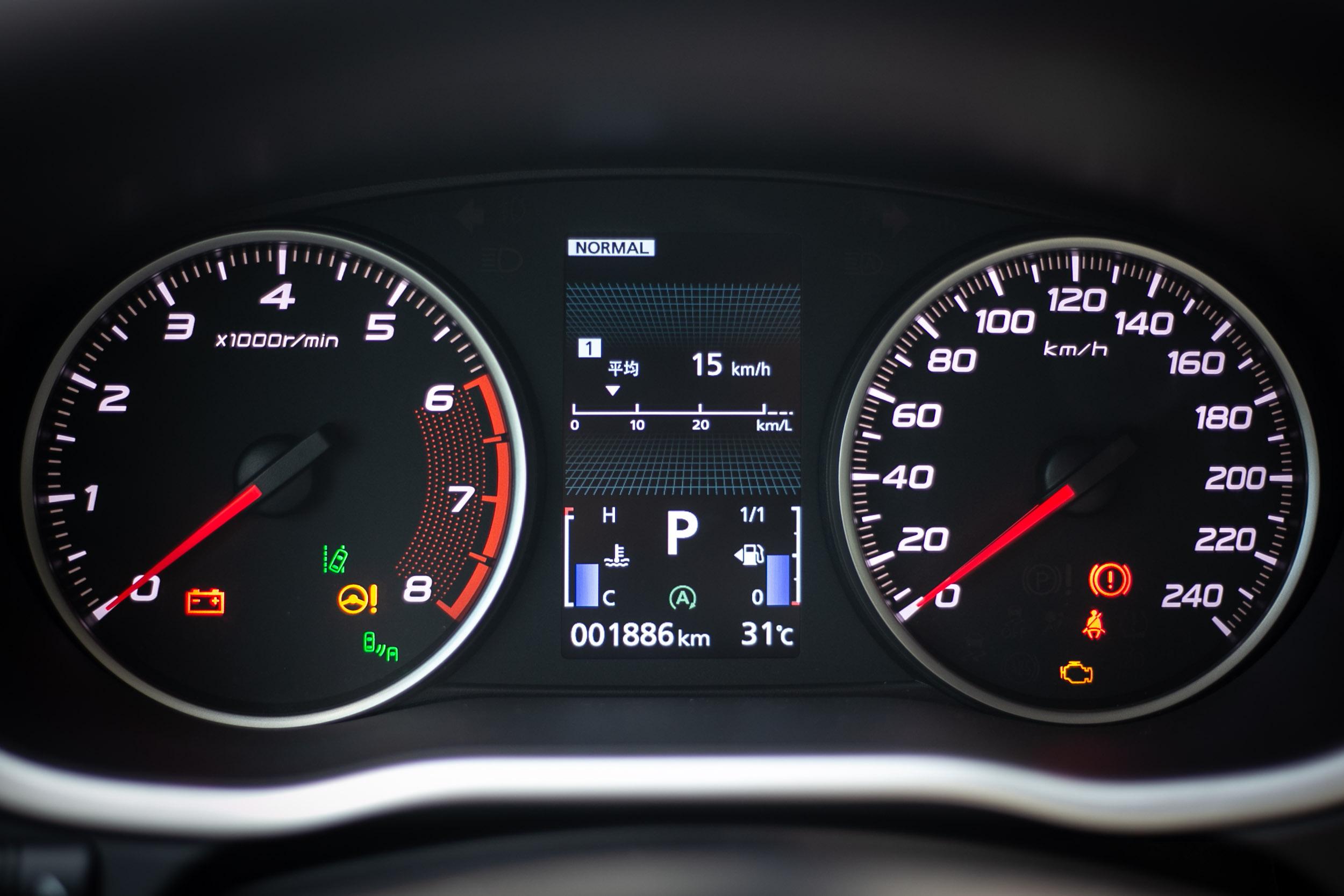 沒有導入全數位液晶儀表板,採用傳統雙環指針儀表搭配中央全彩英文行車資訊顯示方式。