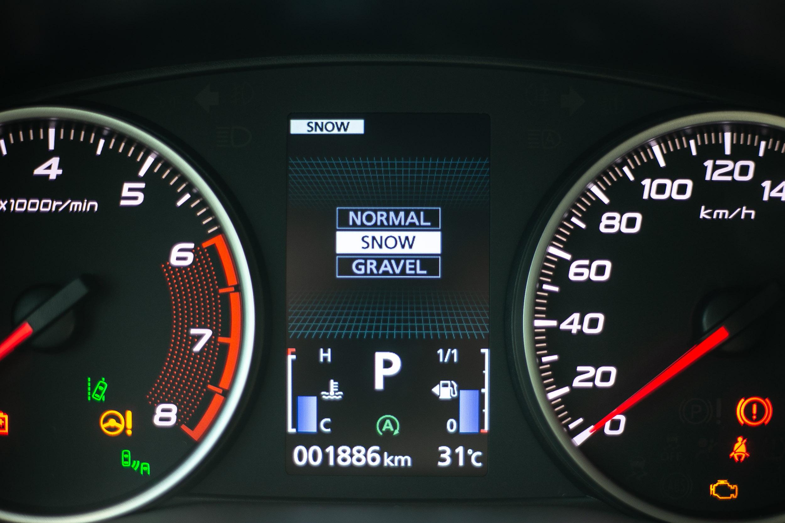 S-AWC 全時四輪驅動提供三種駕駛模式(一般/雪地/砂石)。