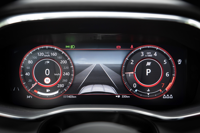 12.3吋的全數位化儀表會依照 JaguarDrive Control行車模式切換而改變呈現設計。