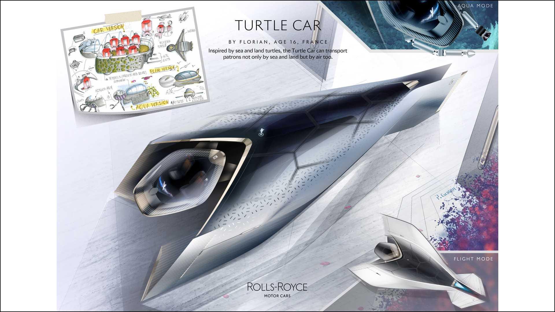 幻想《勞斯萊斯海龜汽車》—— 來自法國的 16 歲青年設計師 Florian。