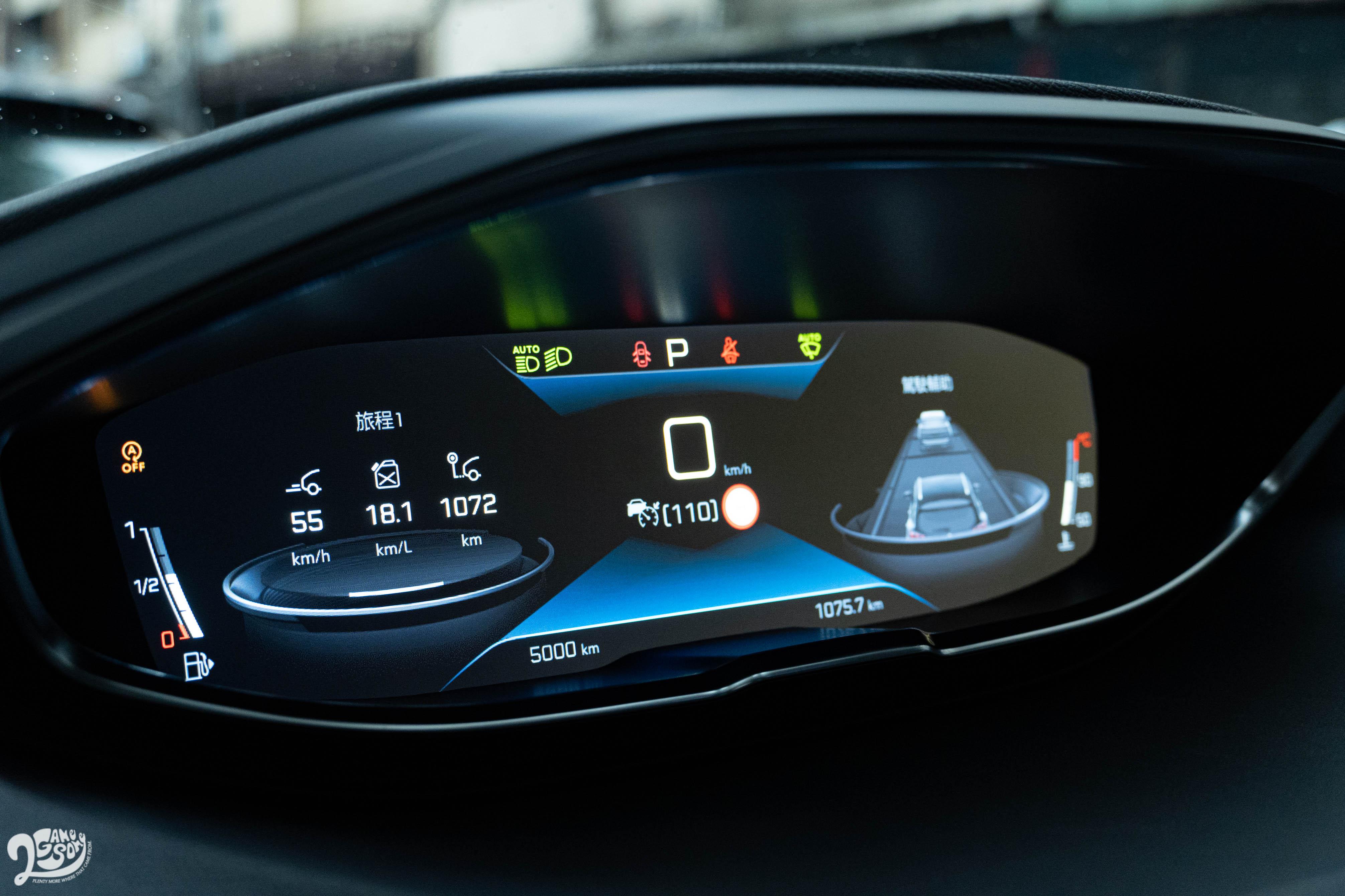 經過 1,000 多公里、大約 2/3 是高速公路的長途試駕,儀表上所顯示的平均油耗還有 18.1 km/L,與規格表上的 18.4 相去不遠。