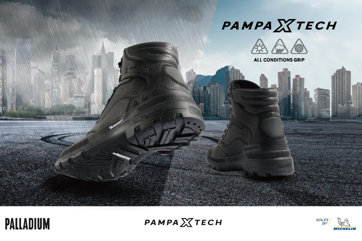 PAMPA X TECH POLICE LWG 金級認證頂級牛皮,極黑鞋身展現硬派軍靴。