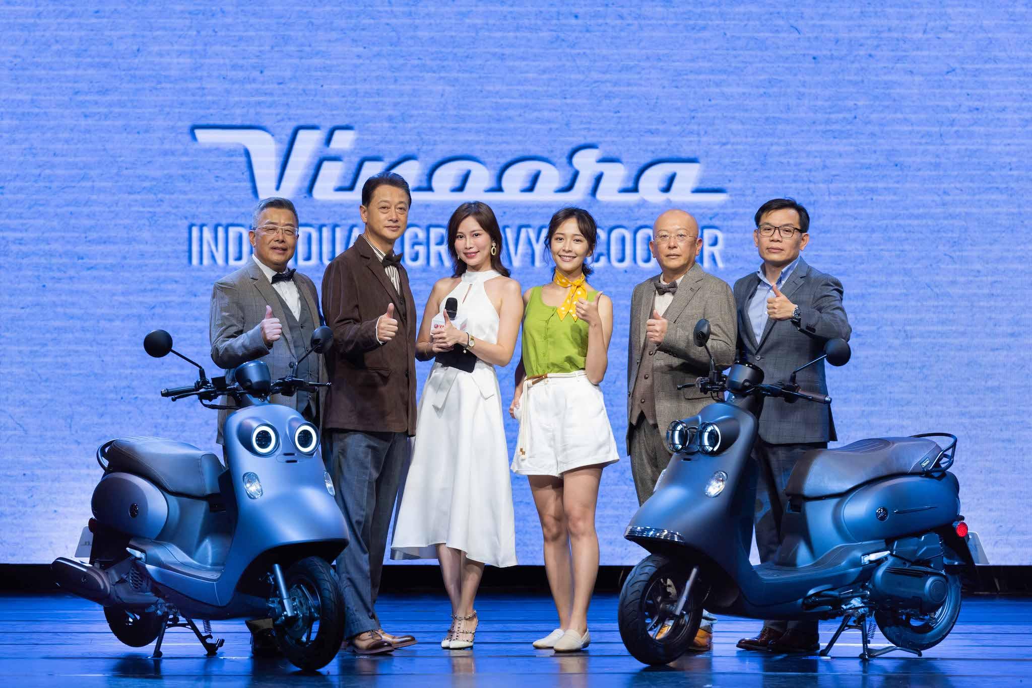 左到右:台灣山葉機車 副總經理 高晴珀、副董事長 武田真二、主持人HARUKA、特別來賓海莉、總經理 奧谷賢宏、總經理 許漢權。