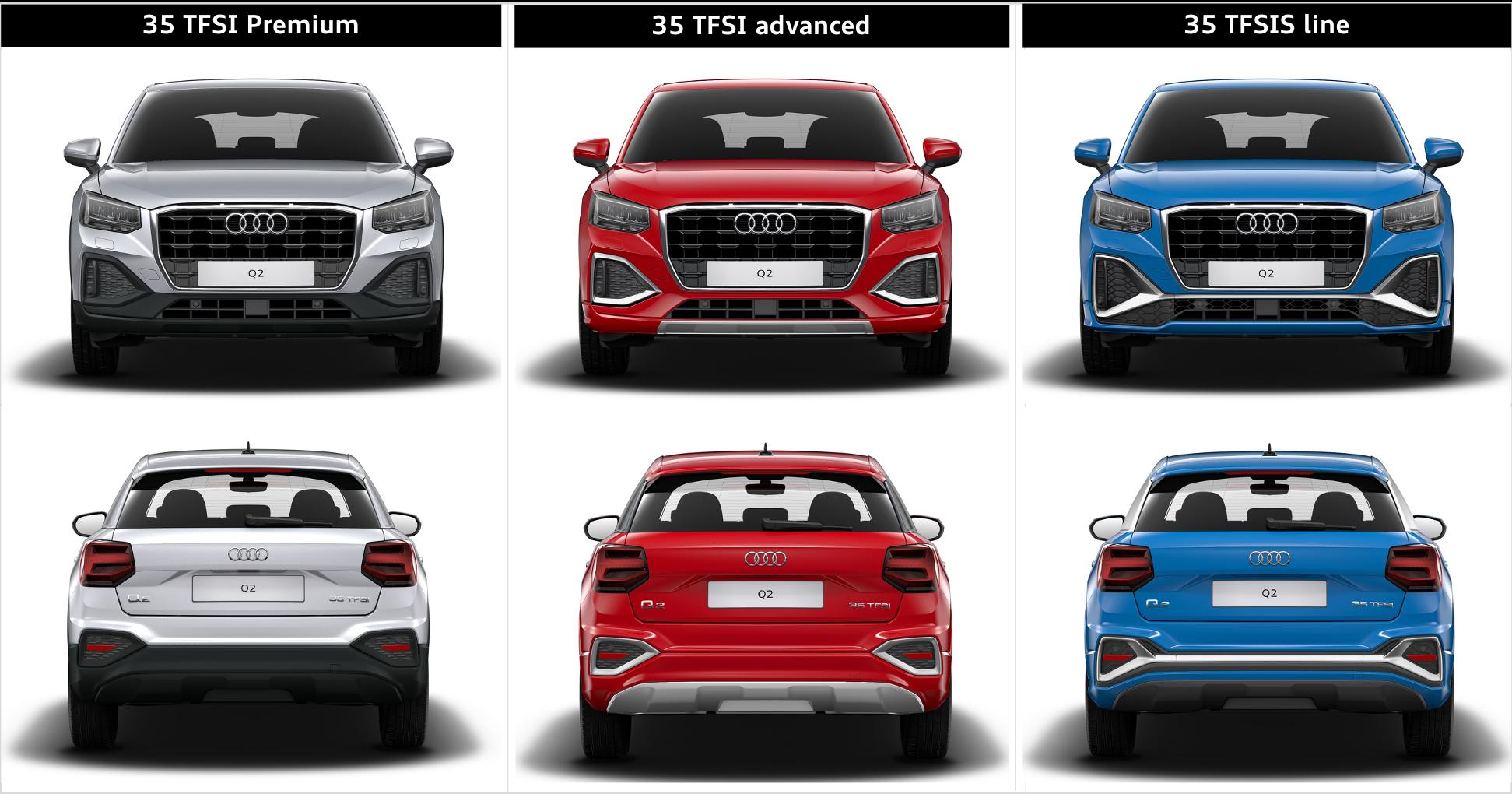 從此對比圖可以發現不同車型於保桿與氣壩造型的差異。