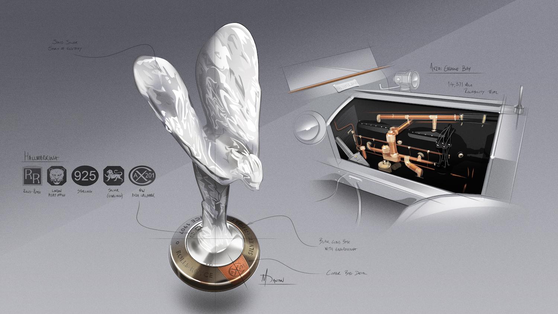 歡慶女神底座材質與 Silver Ghost 引擎室內材質相呼應。