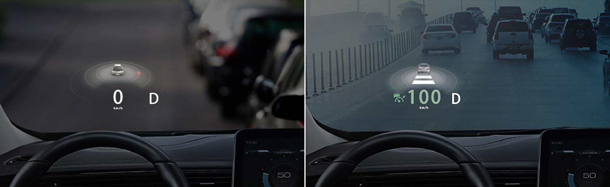 URX 透過以 HUD 抬頭顯示器為核心的 ARD 系統取代傳統儀表板。