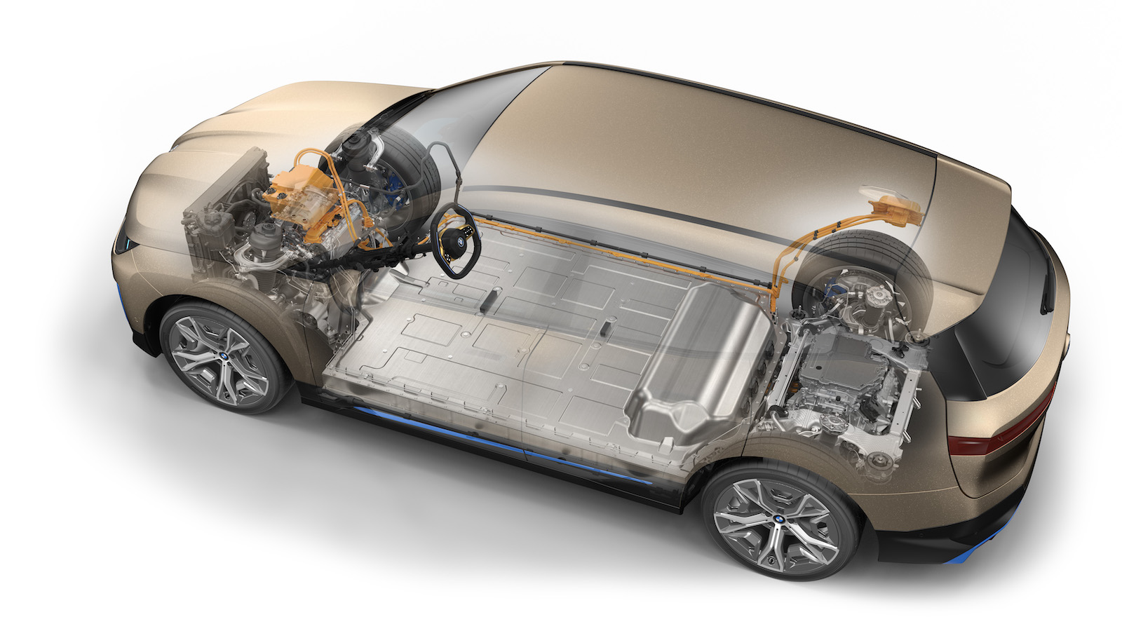 BMW iX 基於第五代 eDrive 純電系統,擁有超過 500 匹馬力,透過兩具馬達驅動,不用 5 秒就能完成零百加速。