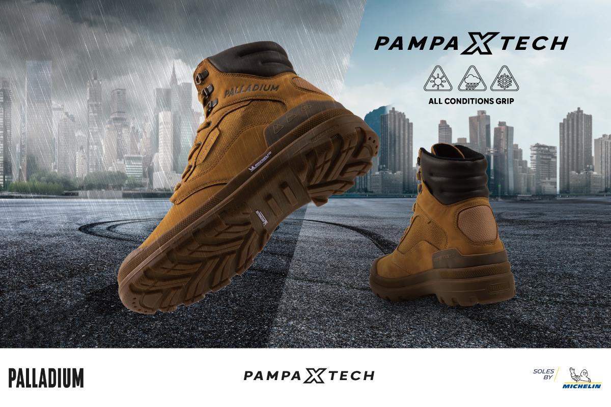 PAMPA X TECH WPN 高質感 LWG 金級認證牛巴戈皮革 x 彈道尼龍科技防水鞋面。