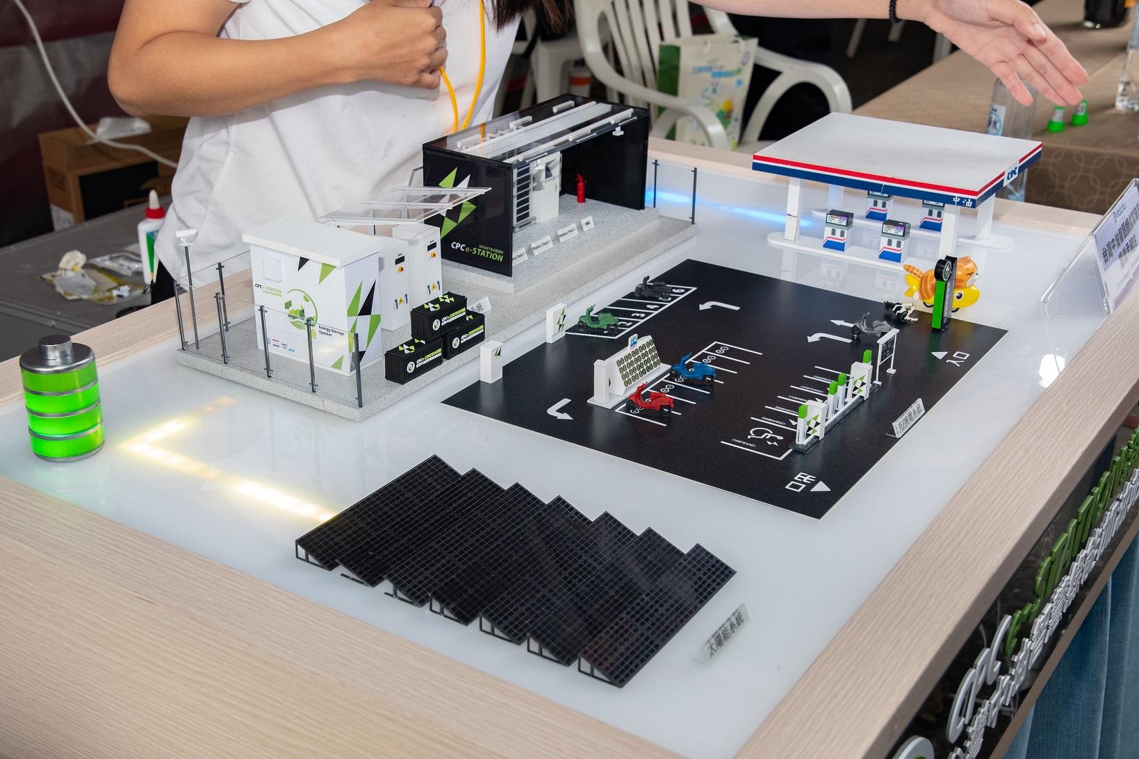 台灣中油智慧綠能加油站示範站模型圖。