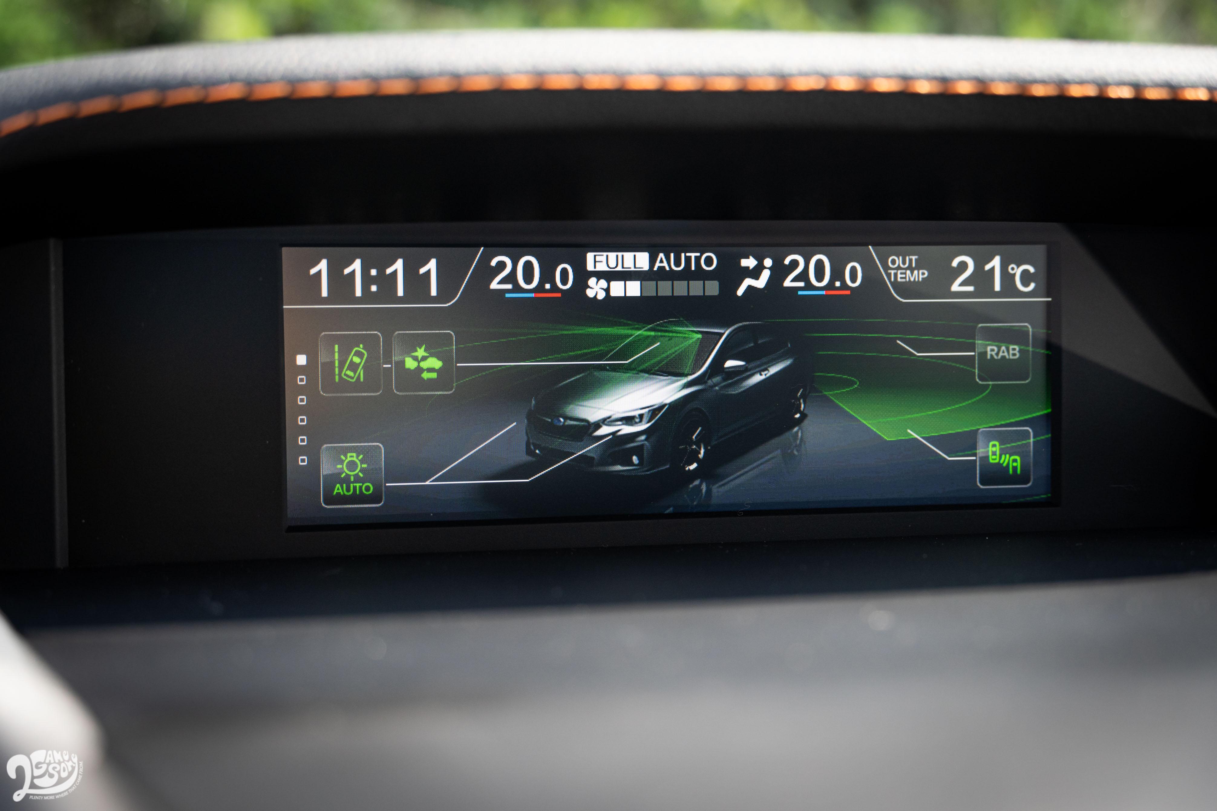 EyeSight 智能駕駛安全輔助系統,其中包含全速域 ACC、前車駛離警示、車道偏擺與偏離警示等實用科技。
